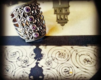 Amethyst Marcasite Sterling Silver Ring