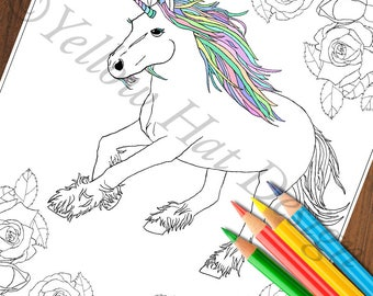 Unicorn Garden Coloring Page, Unicorn Coloring Page, Rose Coloring Page, Adult Coloring Page, Rose Garden Coloring Page