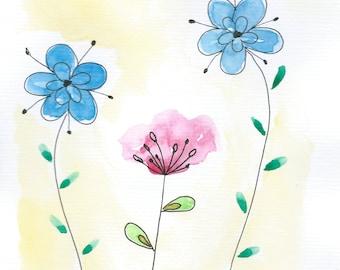 Whimsical Flower Painting, Original Watercolor Flower Art, Abstract Watercolor Painting, Watercolor Flower Art, Small Original Art A5