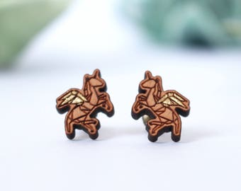 Magical Unicorn - Golden & Wooden Earstuds