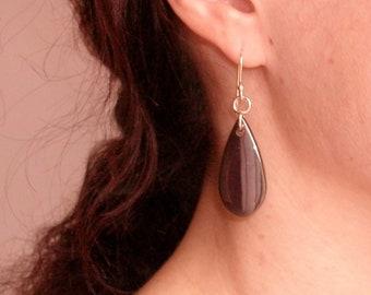 Black hematite 925 sterling silver drop earrings