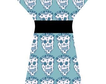 SKULL DRESS TEAL (handmade & custom printed fabric)