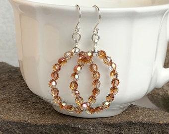 Swarovski Crystal Glass Bead Hoop Earrings