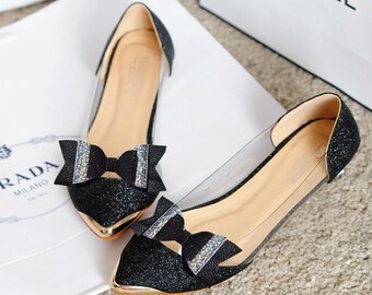 Bow - shoe clips, glitter and leather