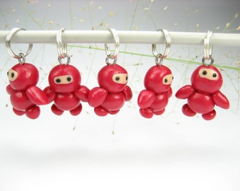 Ninja Stitch Markers Set of 5 red baby knitting accessories polymer clay miniature Japanese charms gift for knitters cute unique gifts funny