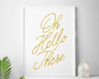 Hello printable art, typography quote, wall art, digital download, gallery wall decor, Scandinavian art