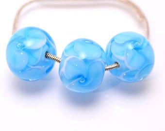 handmade blue beads lampwork bead glass aqua bead jewelry making set  artisan lampwork glass blue bubbles flower jewelry decor Murano glass