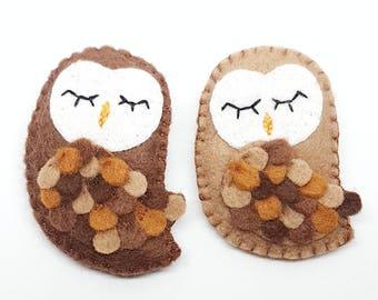 Felt Owl Brooch/ Owl/ Felt Owl/ Owl Brooch