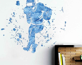 football player wall decal American football wall decal for Boy's Room cik1876