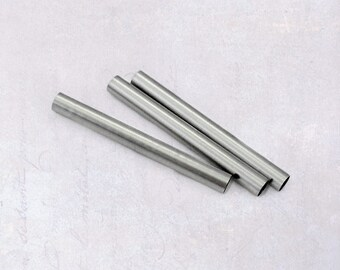 25 x Stainless Steel 30mm Long Tube Beads