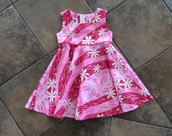Adorable Girls Dress in Hawaiian Print