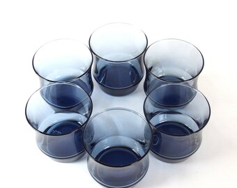 7 Vintage Mod Glasses - Libbey / Rock Sharpe - Apollo Blue Tumblers