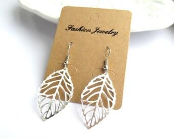 SALE - Mini Leaf Platinum Silver Earrings
