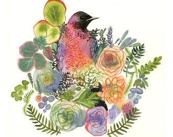 bird art, plants, colorful, peach, green, lavender,Grackle and Succulents Archival garden art print