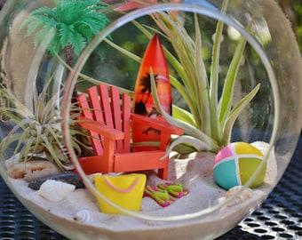 """Beach Terrarium Kit ~ 7"""" Air Plant Terrarium Kit ~ Coastal Living Beach Decor ~ Beach Chair ~ Surfboard Terrarium ~ Beach Bag ~ Palm Tree"""