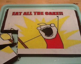 Eat All The Cake A4 Rectangle Edible Image