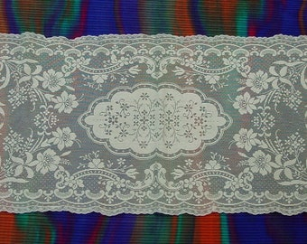 """Lovely Lace Runner, Dresser Scarf Cream Color, 14 x 38"""""""