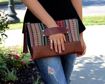 Bohemian Stripe Clutch / Kindle Case / Hand Handle