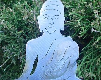 Buddha Buddhism Buddhist Zen Meditation Metal Yard Art Garden Stake Chinese Asian Feng Shui Plant Spike Lawn Decor Outdoor Ornament