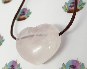 Rose Quartz Crystal Necklace, Rose Quartz Necklace, Loveheart Necklace, Heart necklace, Rose Quartz Loveheart Necklace, Mothers Day Gift