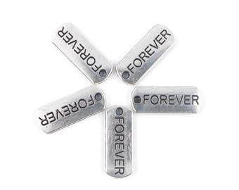 X 10 rectangle charms silver FOREVER 21mm x 8mm (96D)