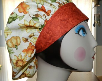 Pumpkins and Acorns Thanksgiving and Fall  Banded Bouffant Surgical Cap