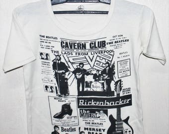 VINTAGE 70s THE BEATLES cavern club rock tour concert t shirt john lennon yoko