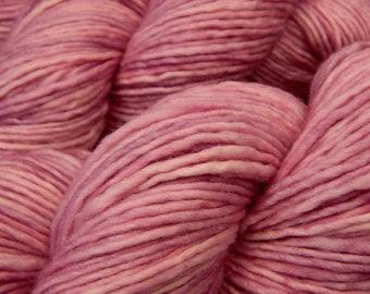 Hand Dyed Yarn, DK Weight 100% Superwash Merino Wool - Mallow - Pink Semi-Solid Knitting Yarn, Soft Single Ply Tonal Wool Yarn