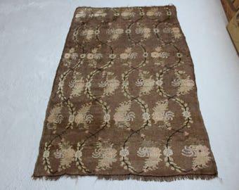 3'9''x6' Vintage Oushak Rug, Handwoven Turkish Carpet, Distressed Brown Rug, Faded Anatolian Rug