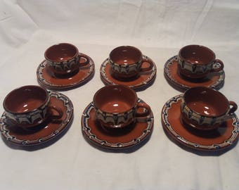 Vintage Handmade Ceramic Coffee Set - Traditional Bulgarian ceramics - NEW