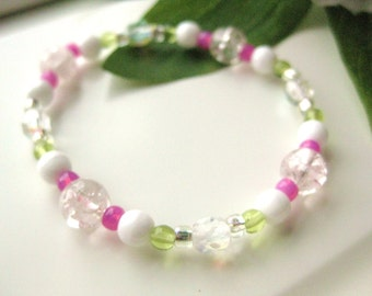 Girls Bracelet, Pink, White and Green, Large Bracelet, GBL 118