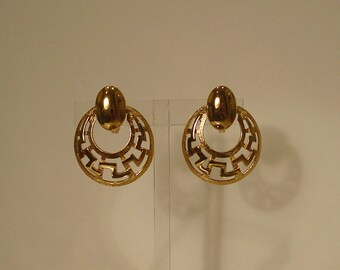 Monet Goldtone Geometric Hoop Dangle Clip On Earrings