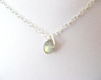 Little Labradorite Button Charm Dainty Necklace - Labradorite and Sterling Silver - Choker necklace - Pendant necklace