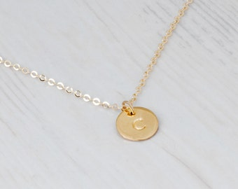 Engraved Disc Necklace, Gold Disc Necklace, Initial Necklace, Custom Stamp Necklace, Personalized Disc Necklace, Sterling Silver, Rose Gold