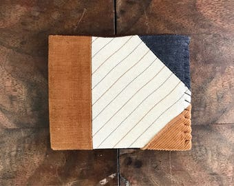 Beige Pinstripe Wool, Camel Corduroy and Charcoal Denim Bifold Mens Wallet with Brown and Black Interior v. 2
