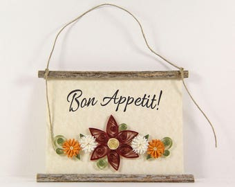 Bon Appetit, Paper Quilled French Kitchen Sign, 3D Paper Quilled Banner, Red White Gold Decor, France Gift, Enjoy Your Meal Kitchen Art
