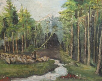 Antique oil painting forest scene
