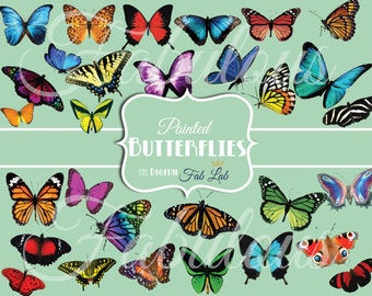 Painted Digital Butterfly, Monarch, Digital Clipart, Scrapbook