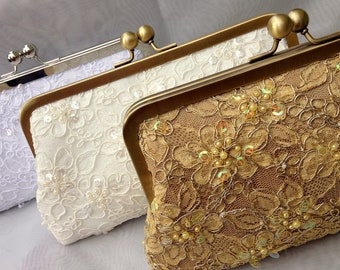 Lace Bridal Clutch, Evening Bag, Pearl Bridal Clutch, Alencon Lace Clutch,  Wedding (Ivory, White, Gold Clutch) {Pearled Pretty Kisslock}