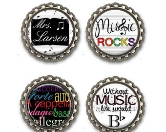 ON SALE - Personalized MUSIC Teacher Gift - Magnet Set, Teacher Appreciation, Thank You Gift, Back to School, Bottlecap Magnets