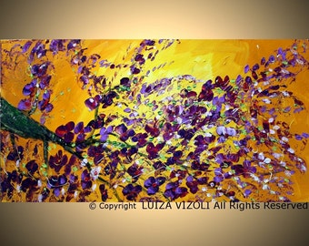 Original 72x36  Modern Abstract Tree Large Painting by Luiza Vizoli PURPLE BLOSSOM XXL Painting