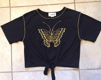 Vintage 90's Adolfo Butterfly Oversize Tied Crop Top M