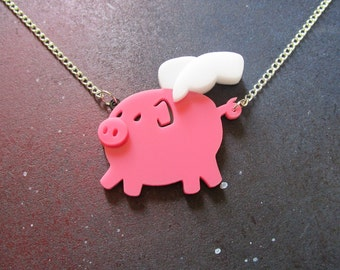 When Pigs Fly Pink Pig Necklace, Laser Cut Acrylic, Winged Pink Potbelly, Cartoon Pig