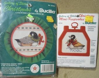 Bucilla Mini Christmas Goose Cross Stitch Kits 2