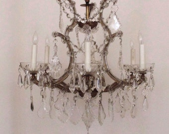 Italian Chandelier Crystal Glass Maria Theresa 6 Light w/ Prisms Fixture Italy Bird Cage Birdcage