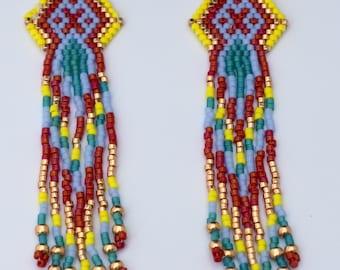 Dangling beaded earrings,geometric earrings,ethnic  earrings,fringe earrings,multi color earrings,southwestern earrings,boho earrings