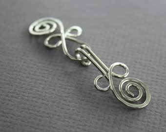 Handmade Celtic knot German silver cardigan clasp or sweater clasp for knit and fabric - Sew-on clasp - Sew-on sweater button - CL001