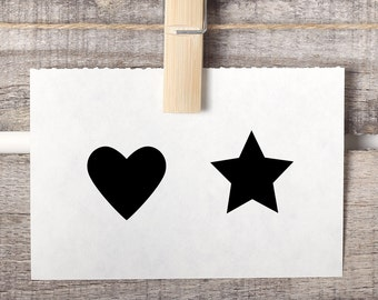 Mini Stamps Heart and Star