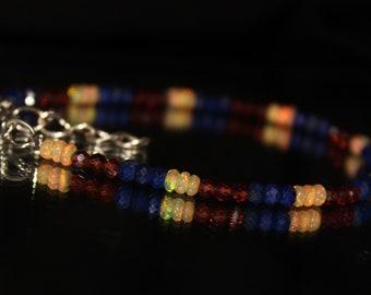 Mozambique Garnet & Lapis Lazuli Bracelet, Opal Bracelet, Lapis, mozambique garnet, Lapis Bracelet, Gemstone Bracelet, Beaded Bracelet 0036