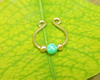 Fake Septum Ring in Gold, Opal Septum Ring ,fake septum cuff, septum jewelry, septum clip on ring,septum fake ring,septum fake piercings